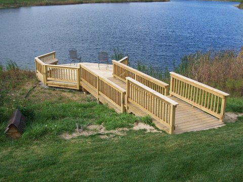 Designs in wood deck construction farmington hills milford for Waterfront deck ideas